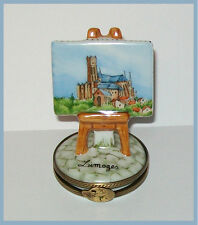"""Hand Painted LIMOGES MINIATURE """"La Cathedrale"""" on easel - hinged trinket box"""