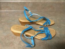 Women's Tuscany by Easy Street Blue Sandals Size 9 Wide (CON34)