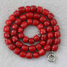Natural stone red coral 8-10mm irregular abacus bead necklace chain gemstone 18""