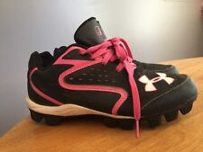 UNDER ARMOUR Baseball Softball AUTHENTIC Cleats Black Pink Girls Shoes Sz 5 ~