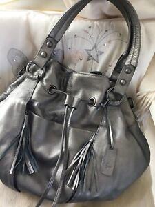 MIAH Large Slouchy 100% Leather Metallic Gunmetal Grey Hobo Shoulder Tote Bag