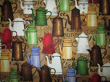 RETRO COFFEE POTS TEA EXPRESSO COLORS COTTON FABRIC FQ