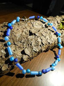 Neu unikat Polariskette Walzen Halskette Polaris perlen kette blau dunkelblau