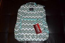NEW Eastsport Girl Student Backpack Teal White Chevron Pattern Books Laptop