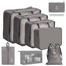 8Pcs Gray Travel Storage Bag Set Clothes Luggage Packing Cube Organizer Suitcase