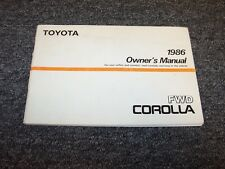 1986 Toyota Corolla Sedan Owner Owner's Operator Guide Manual DX LE SR5 1.6L