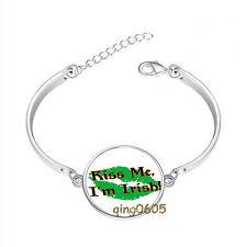Kiss Me I'm Irish Bracelet Photo Glass Cabochon Tibet silver Bracelets