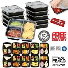 10 Meal Prep Containers Plastic Food Storage 3 Compartment Reusable Microwavable