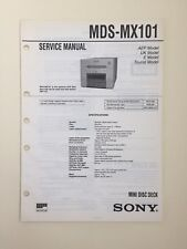 Sony MDS-MX101 Service Manual (original Document Not Copy Or PDF)
