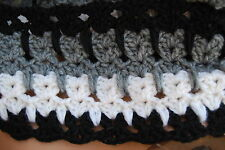 Cat & Kitten Infinity Scarf Soft Crochet Black,Grey & White Medium
