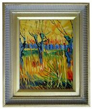 Framed Van Gogh Pollard Willows With Setting Sun Repro,  Oil Painting 8x10in