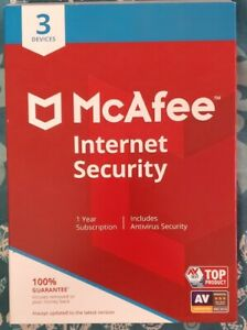 McAfee Internet Security for 3 Devices / 1 Year Subscription Disk New Sealed Box