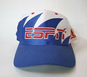 RARE Vintage ESPN Logo Athletic Snapback Sawtooth Hat Cap Red White Blue Sports