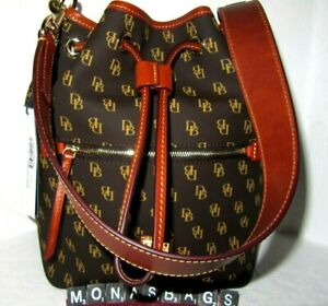 Dooney & Bourke Gretta Signature Drawstring Shoulder Bag Brown Tmoro NWT $248