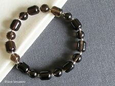 Dark Brown Smokey (Smoky) Quartz & Sterling Silver Beaded Unisex Bracelet Gift