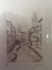 Charming Etching Of Venice Canal Scene  Framed, Signed And Numbered