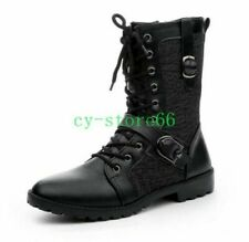 Men's Punk Motorcycle Military Buckle Lace Up Mid-calf Boots Knight Shoes US 9