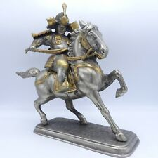 Vintage 3 Piece Metal Asian Warrior Statue on Horseback w/ Gilt Bronze Detail