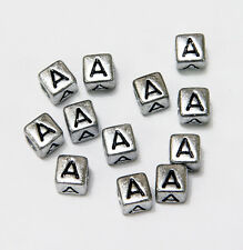 "6mm Silver Metallic Alphabet Beads Black Letter ""A"" 100pc"