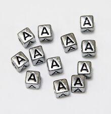 "6mm Silver Metallic Alphabet Beads Black Letter ""A"" 100pc"
