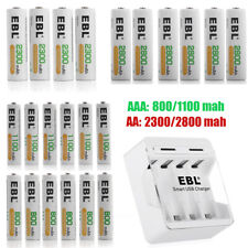 Lot AAA AA Rechargeable Batteries 800mAh~2800mAh For Solar Light w/ Box /Charger
