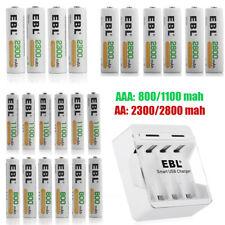 AAA AA Rechargeable Batteries 800mAh ~ 2800mAh Lot w/ 4 Slots Charger for AA AAA