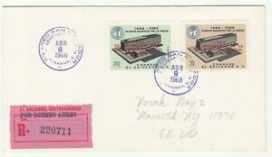 El Salvador: 20th Anniversary of WHO, Registered FDC, to New York, 8 April 1968