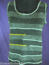 "KALI OREA Sleeveless Jumper M 36"" Bust Striped Knitted Top Grey Made in Italy"
