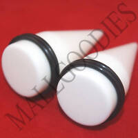 "0601 White Stretchers Tapers Expenders 1"" Inch 25mm"