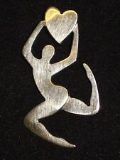 Signed FF STERLING Silver 925 GYMNAST Female HEART Love Gymnastic PIN