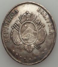 Bolivia Republic Silver Oval Railway Medal 1892 Toning XF/AU,24.29 gm.