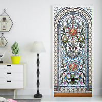 3D Self-Adhesive Stained Glass Window Living Room Door Murals Wall Sticker Decal