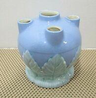 Vintage Myata Ware Blue Glaze Pottery Flower Frog Vase With Leaves 5' X 4.75