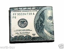 New Mens Bifold Leather Wallet Billfold 100 Dollar Bill Money Cards Id Window