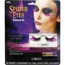 NIP-Adult Halloween Spider Eyes Lashes, Gems Quality Makeup Kit