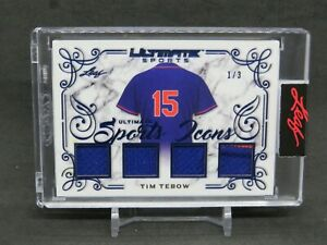 2021 LEAF ULTIMATE SPORTS TIM TEBOW ICONS USED JERSEY /3 NEW YORK METS DN2