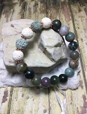 Handmade Healing Essential Oil White Green Lava Jasper Stone Bracelet USA