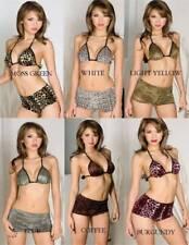 White Velvet Leopard Print Halter Bra and Hot Pants Set One Size Music Legs 9976