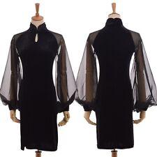 Chiffon Puff Sleeve Improved Qipao Womens Black  Velvet Cheongsam Party Dress