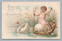 Egg-Riding Cherub Boy w White Swan—Antique Easter Postcard 1908