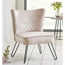 Upholstered Occasional Cocktail Velvet Accent Tub Chair Quilted Retro Seat