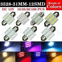 Lot 100 X Multi-Color 31mm 12 LED SMD Festoon DOME/MAP Interior Car Lights Bulbs