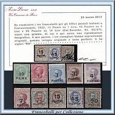 1922 Uffici Estero Levante Costantinopoli n. 58/67 Cert. Diena Nuovi Integri **