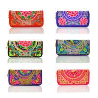 Women Handmade Hippie Boho Ethnic Hmong Floral Embroidered Wallet Purse Coin Bag