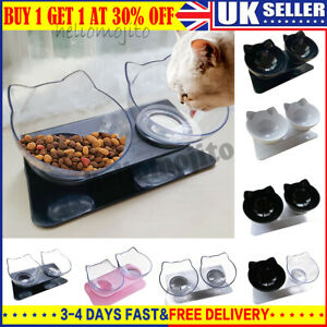 Non-slip Pet Feeding Double Bowl with Raised Stand Dog Cat Food Water Station