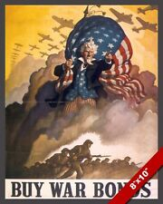 WWII BUY WAR BONDS UNITED STATES UNCLE SAM US PROPAGANDA POSTER CANVAS ART PRINT