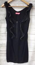 WISH Size 8 XS Black Ruffle Zipper Dress Retro 80s Shift Club wear Party Little
