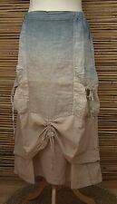 LAGENLOOK HIGH QUALITY LINEN LAYERING QUIRKY LONG SKIRT*DUSTY BLUE/BEIGE*LARGE