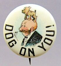 1910 Bud Fisher Mutt & Jeff DOG ON YOU! Hassan Cigarette pinback button *