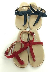 Nanos Girls Lot of 2 Strappy Sandals Sz 27 US 10.5 Blue Red Leather
